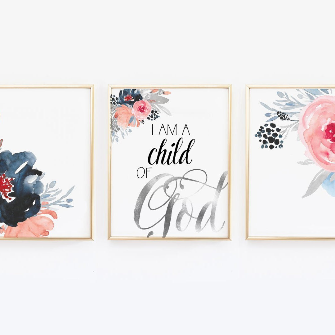 I am a child of God - Watercolor Flower Print - Wall Prints