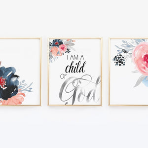 I am a child of God - Watercolor Flower Print