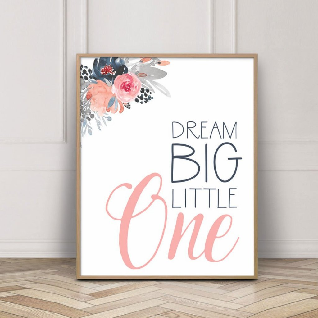 Dream Big Little One Print - Floral navy pink - Wall Prints