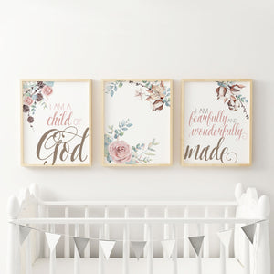 Fearfully and Wonderfully Made - I am a child of God - Set of three Floral Wall Art
