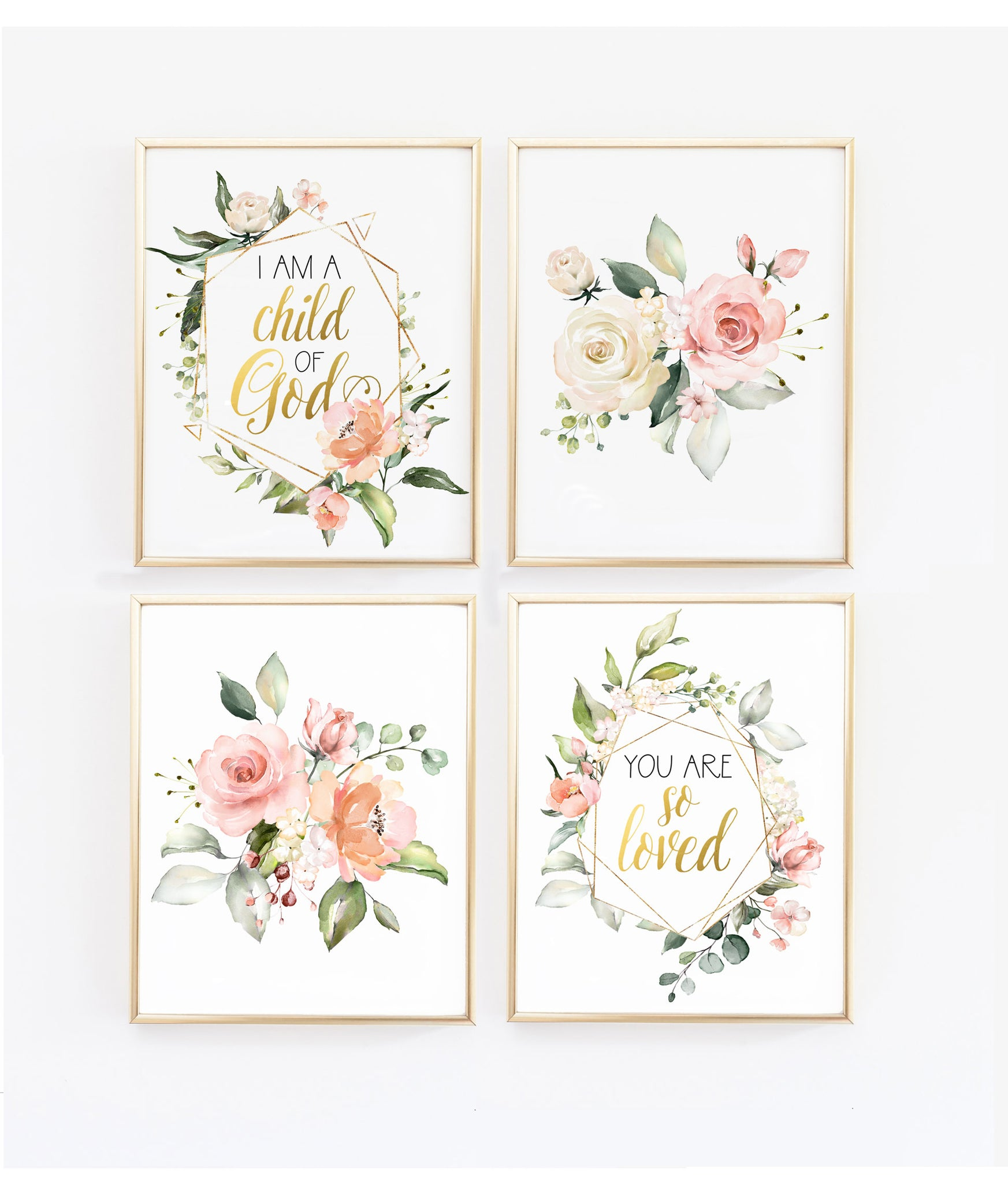 So Loved I Am A Child Of God Set Of Four Floral Geometric Wall Art Wall And Wonder