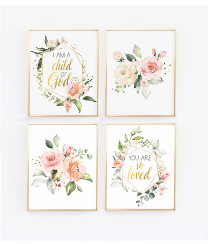 So loved/I am a child of God - Set of four Floral Geometric Wall Art