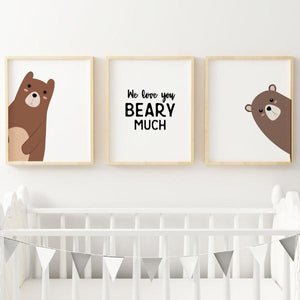 Bear Nursery Print - We love you beary much - Wall Prints