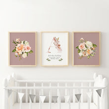 Load image into Gallery viewer, Floral Nursery Wall Prints with Custom Initial Name in Dusty Rose/Mauve