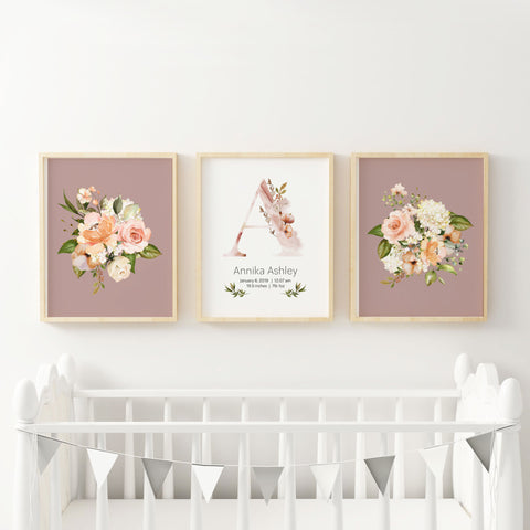 Floral Nursery Wall Prints with Custom Initial Name in Dusty Rose/Mauve