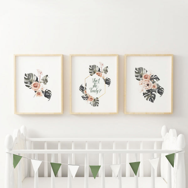 monstera nursery print