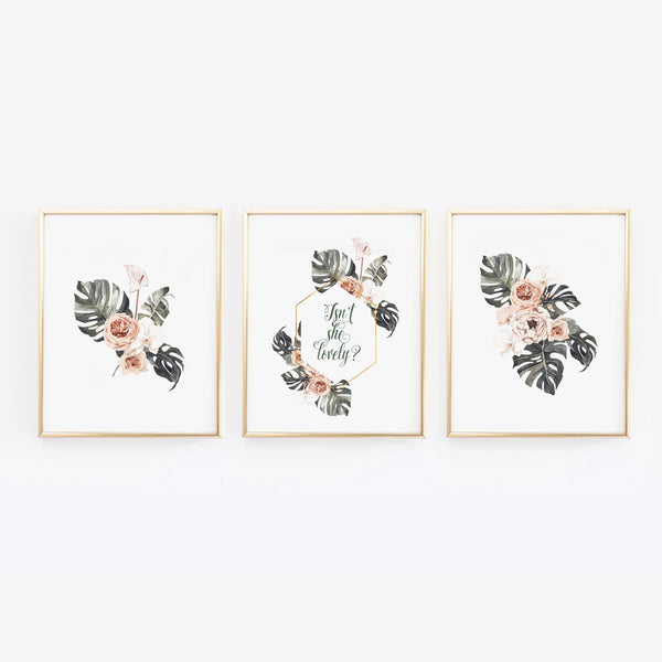 Isn't she lovely - Tropical Botanical Wall Art - Set of Three