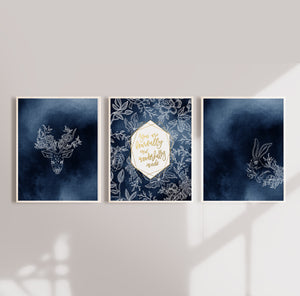 Navy Blue Nursery Wall Art Prints with Woodlands Creatures - Set of Three