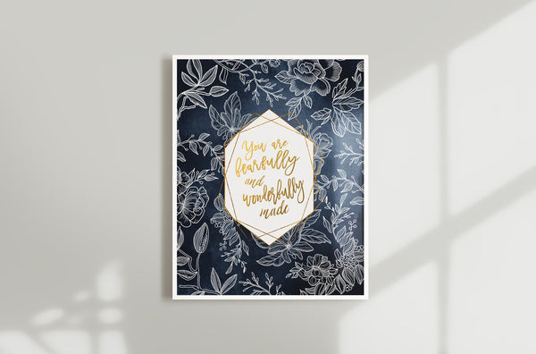 Navy Floral Fearfully and Wonderfully Made Girls Nursery Wall Art