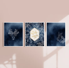 Load image into Gallery viewer, Navy Blue Nursery Wall Art Prints with Woodlands Creatures - Set of Three