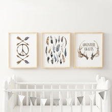 Load image into Gallery viewer, Boho Boy Nursery Wall Art Prints Adventure Feathers Arrows