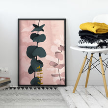 Load image into Gallery viewer, Pink Modern Abstract Wall Art with Eucalyptus Branch