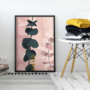 Pink Modern Abstract Wall Art with Eucalyptus Branch