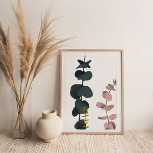 Eucalyptus White Print Wall Art - Minimalist Abstract Print