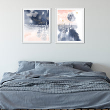 Load image into Gallery viewer, Trees and Moon Abstract Wall Art in pink and blue - Set of Two