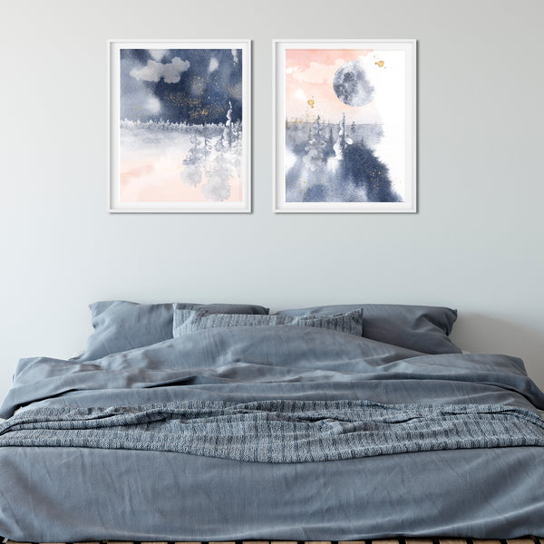 Trees and Moon Abstract Wall Art in pink and blue - Set of Two