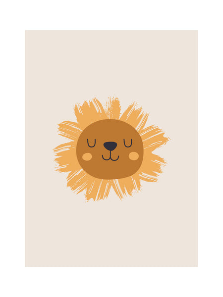 Boho rainbow lion and sun nursery wall art in neutral earthy colors
