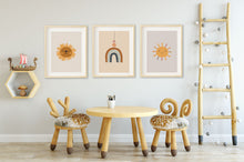 Load image into Gallery viewer, Boho rainbow lion and sun nursery wall art in neutral earthy colors