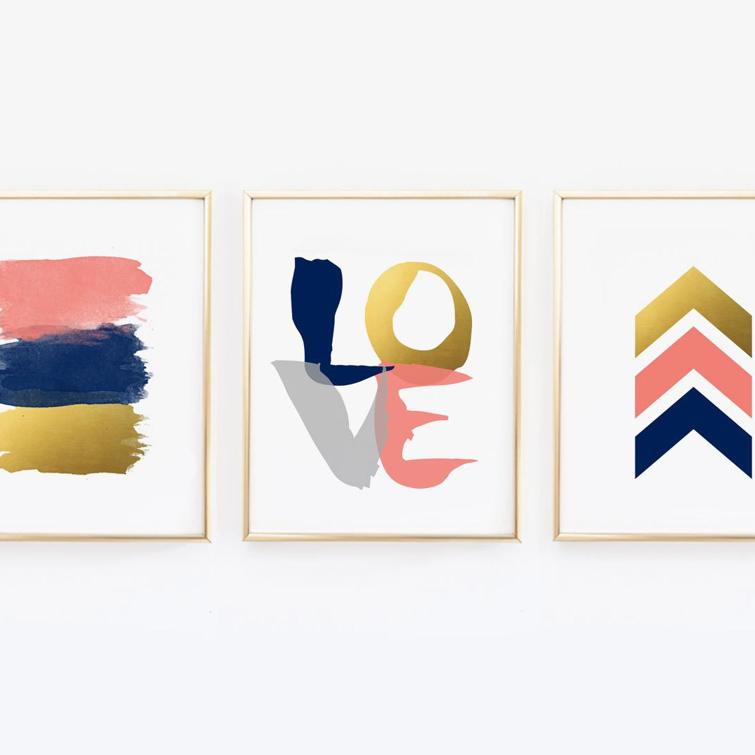 Chevron, Arrow, Love - Navy, Coral and Gold Wall Prints