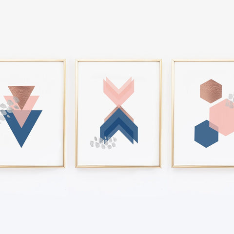Geometric Navy Pink - Scandinavian Wall Prints