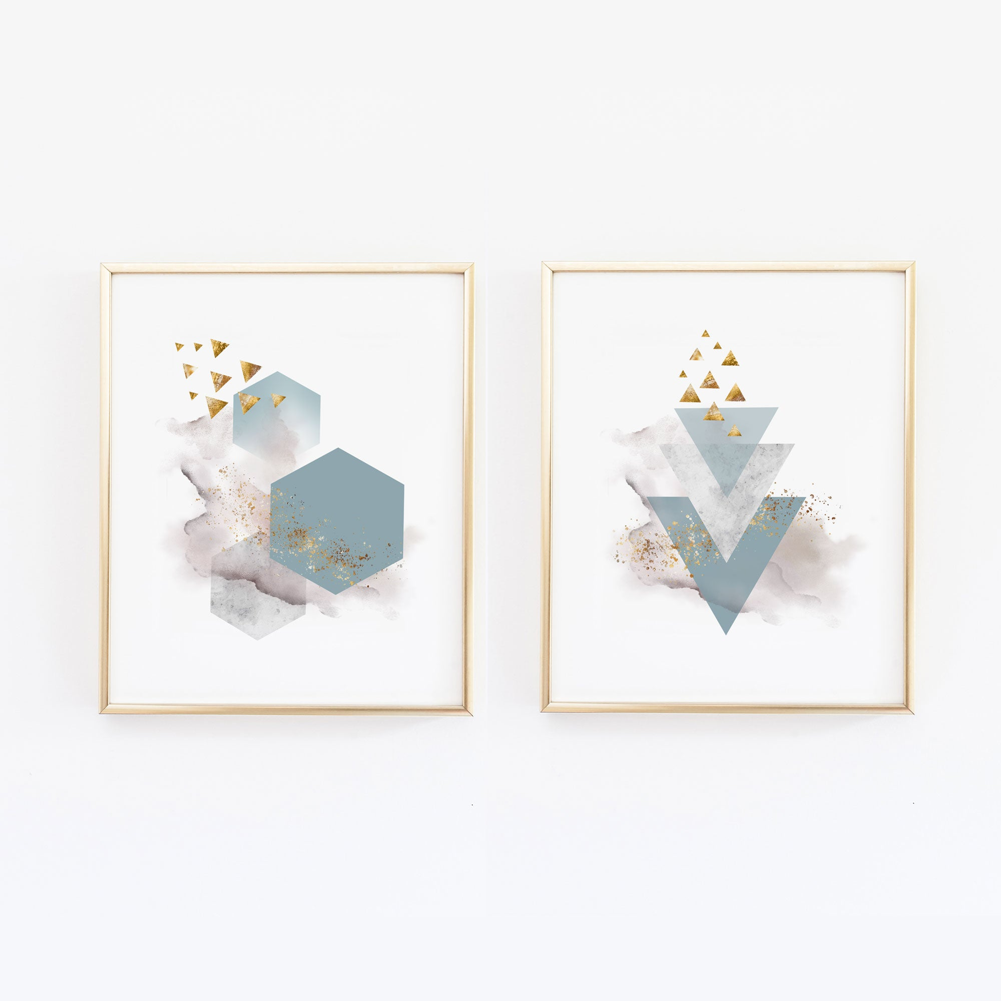 Blue and Gray Abstract Wall Art - Set of Two