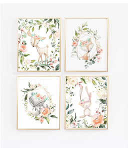 Boho Floral Woodlands Nursery Wall Art