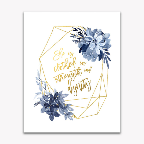 She is Clothed in Strength and Dignity Navy Nursery Wall Art