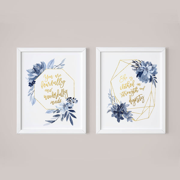 She is Clothed in Dignity - You are fearfully Baby girl Nursery wall prints Navy and Gold