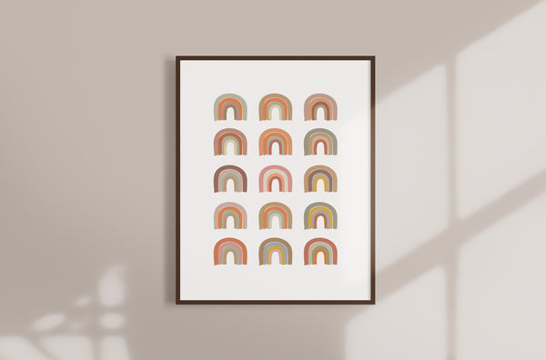 Rainbow Pattern Boho Nursery Wall Art Decor - Earthy Colors