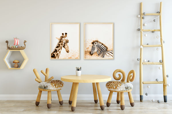 Giraffe and Zebra Animal Nursery Wall Art Decor