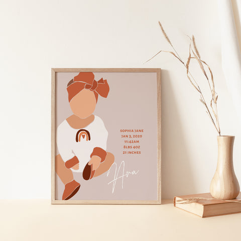 Boho Baby Girl Birth Stats Print -  Earthy Pink with Rainbow