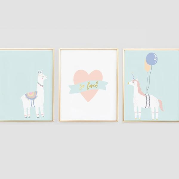 Llama and Unicorn nursery wall art - Wall Prints