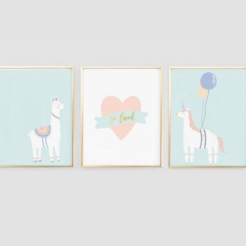Llama and Unicorn nursery wall art