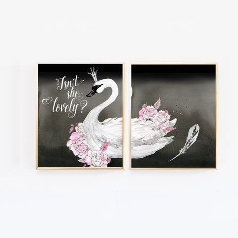 Black Swan Princess Nursery Wall Art, Isn't She Lovely - Set of 2 Print