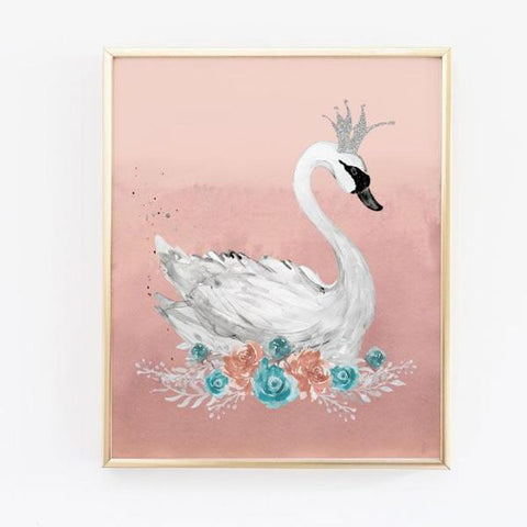 Swan Nursery Print in Pink and Teal - Baby Girl Nursery Wall Art - Wall Prints