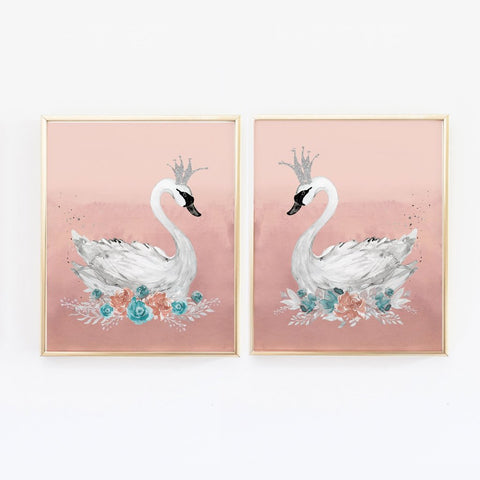 Swan Princess Nursery Wall Art for Baby Girl, Blush Pink and Teal - Set of 2 Print