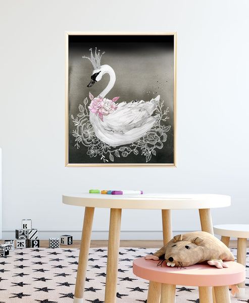 Swan Nursery Print in Black and Pink - Baby Girl Nursery Wall Art - Wall Prints