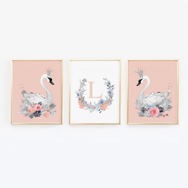 pink swan nursery decor