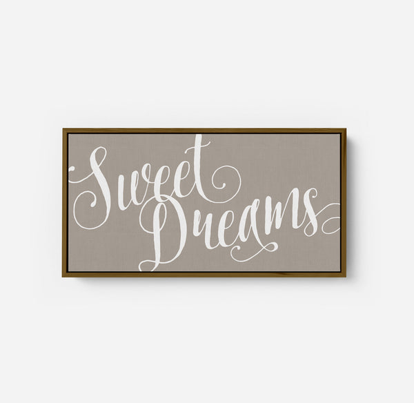 Sweet Dreams - Modern Farmhouse Nursery Wall Decor Sign - Framed Floater Canvas - Wall Decor