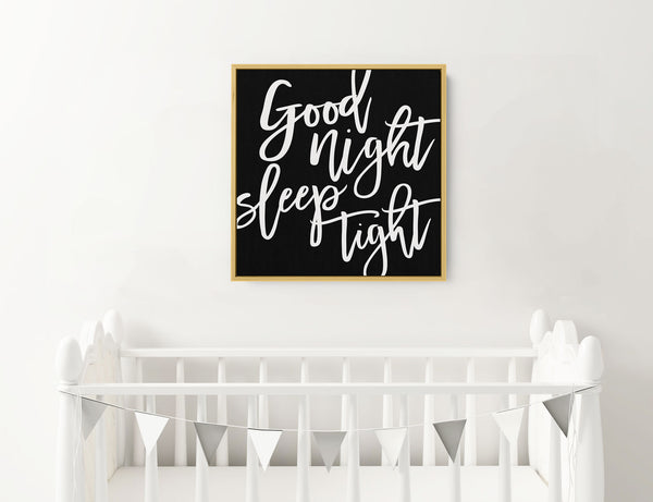 Good Night Sleep Tight - Square Framed Canvas - Wall Decor