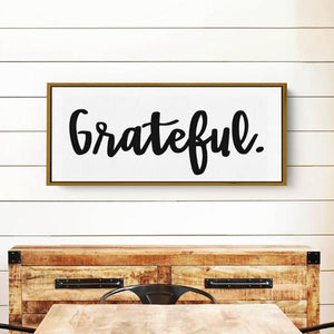 Grateful - Modern Farmhouse Wall Decor Sign - Framed Floater Canvas