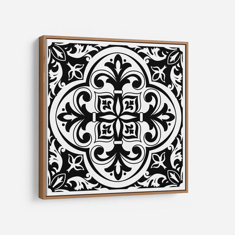 Modern Black and White Tile Kitchen Wall art - Modern Farmhouse Wooden Framed Canvas - Wall Decor