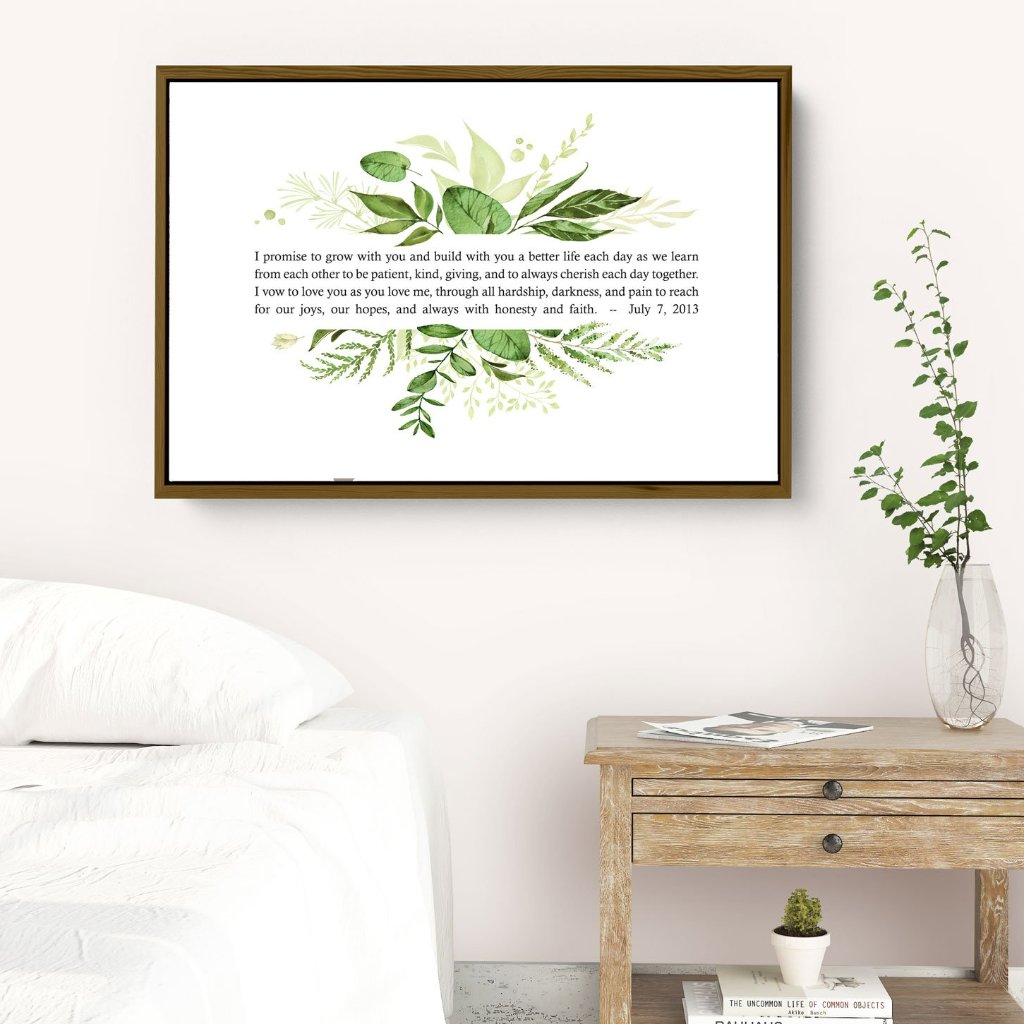 Green Leaves Framed Personalized Wedding Vows Canvas Print