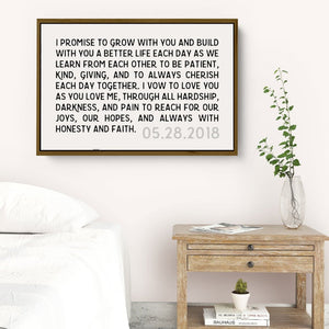 Wedding Vows Framed Personalized Canvas Art with Date