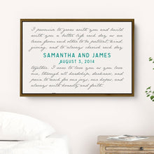Load image into Gallery viewer, Wedding Vow Art Framed on Canvas personalized with Names and Date