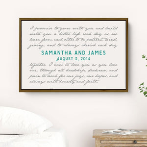Wedding Vow Art Framed on Canvas personalized with Names and Date