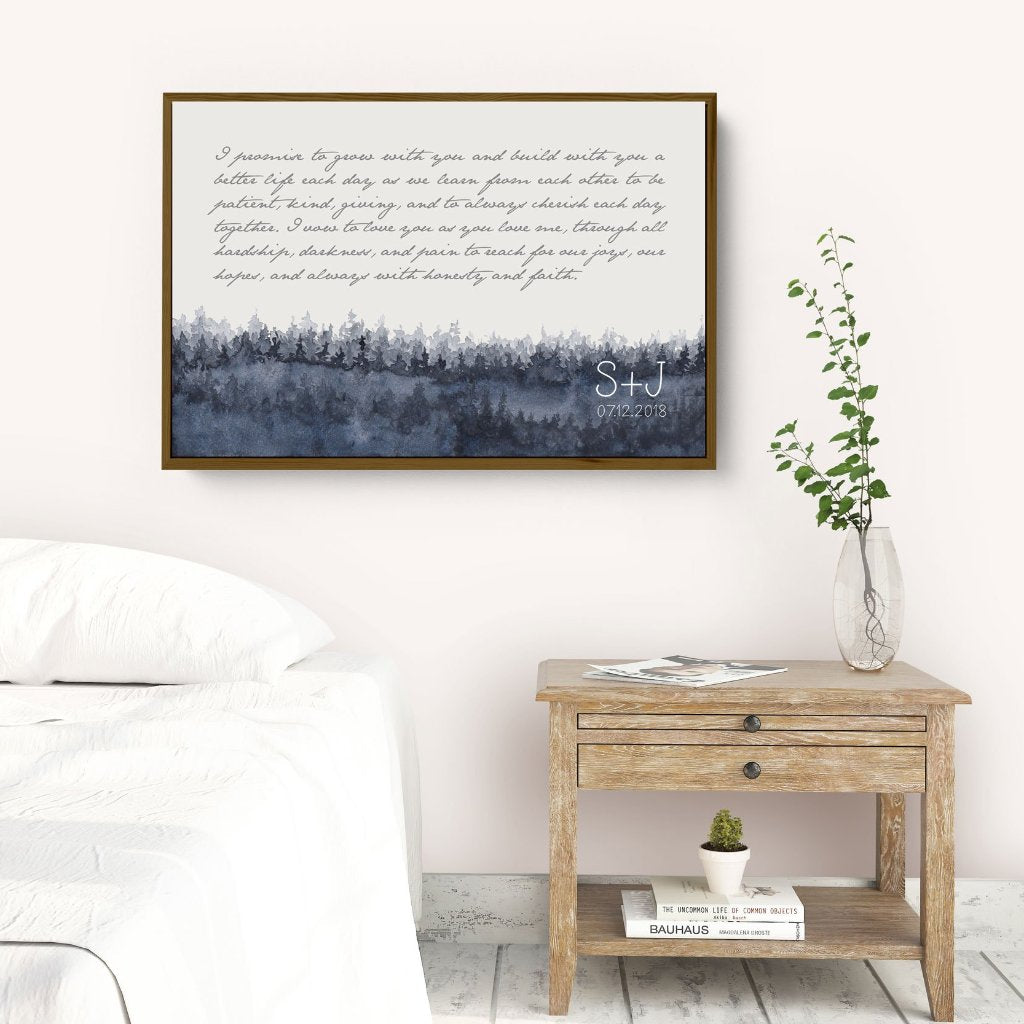 Wedding Vows Framed Personalized Canvas Art with forest