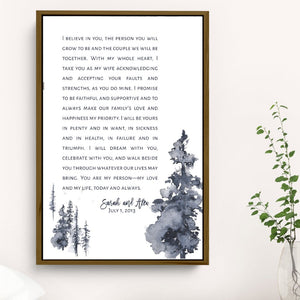 Tree Wedding Vows Framed Personalized Canvas Art - Vertical