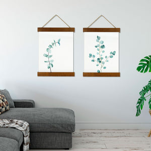 Botanical Plant Wood Frame Canvas Print Scroll
