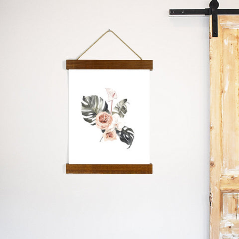 Monstera Leaf Rose Art Wooden Hanging Frame Canvas Print - Choose frame colors